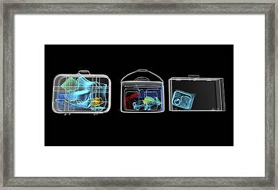 Baggage Surveillance, Simulated X-ray Framed Print by Christian Darkin