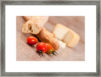 Baguette And Tomatoes Framed Print by Sabino Parente