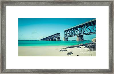 Bahia Hondas Railroad Bridge  Framed Print by Hannes Cmarits