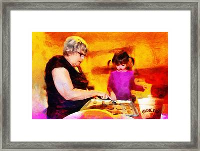 Baking Cookies With Grandma Framed Print by Nikki Marie Smith