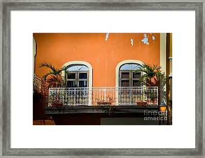 Balcony With Palms Framed Print by Perry Webster