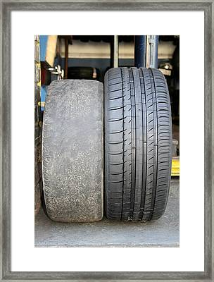Bald And New Tyres Framed Print by Cordelia Molloy