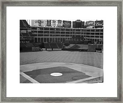 Ballpark Black White Framed Print by Malania Hammer