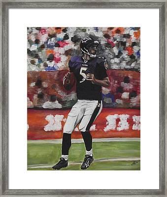 Baltimore Ravens Joe Flacco Framed Print by Kim Selig