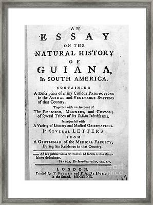 Bancroft: Title Page, 1769 Framed Print by Granger