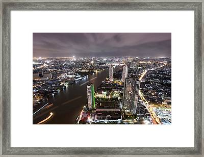 Bangkok City At Twilight  Framed Print by Anek Suwannaphoom