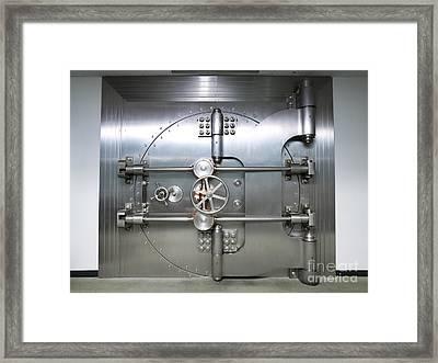 Bank Vault Door Exterior Framed Print by Adam Crowley