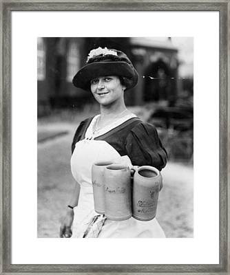 Bar Maid Framed Print by Fox Photos