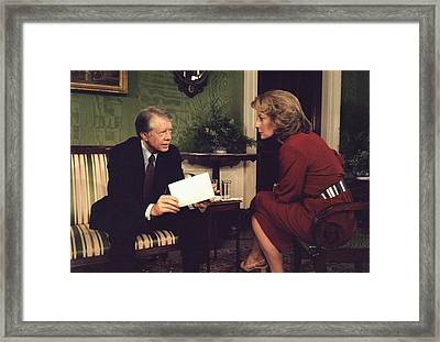 Barbara Walters Interviewing President Framed Print by Everett