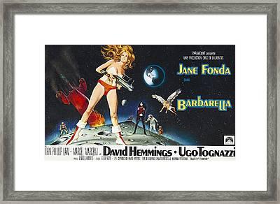 Barbarella, Jane Fonda On Poster Art Framed Print by Everett