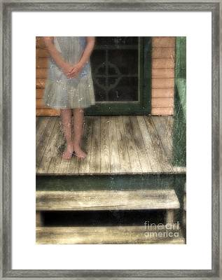Barefoot Girl On Front Porch Framed Print by Jill Battaglia