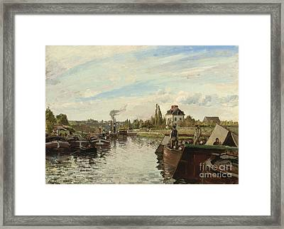 Barge On The Seine At Bougival Framed Print by Camille Pissarro