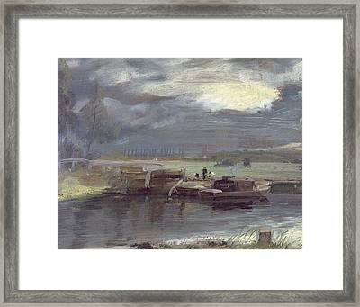 Barges On The Stour With Dedham Church In The Distance Framed Print by John Constable