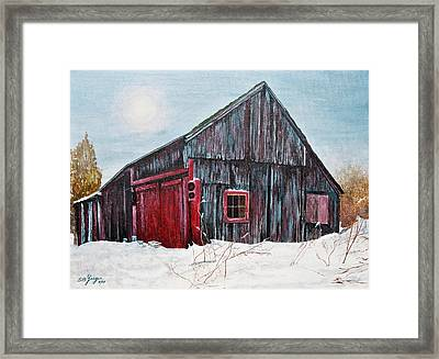 Barn In Snow Southbury Ct Framed Print by Stuart B Yaeger