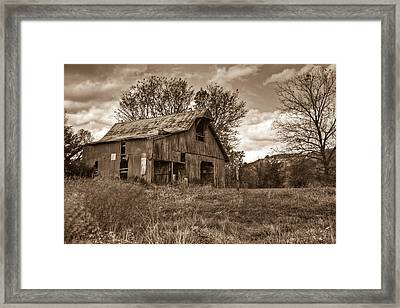 Barn In Turbulent Sky Framed Print by Douglas Barnett