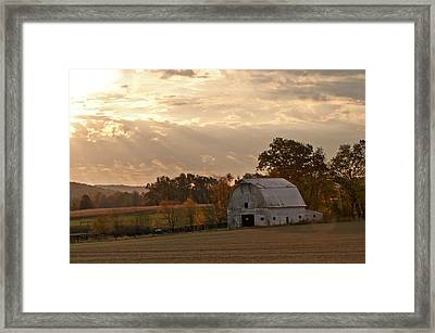Barn In Warming Storm Framed Print by Randall Branham