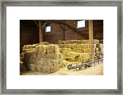 Barn With Hay Bales Framed Print by Elena Elisseeva