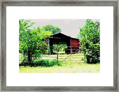 Barn Yard Beyond Framed Print by Sharon Farris