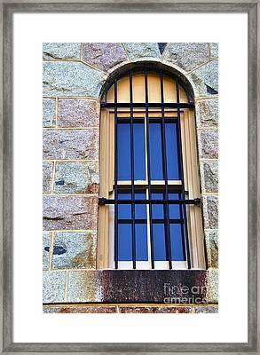 Barred Window - Trial Bay Jail Framed Print by Kaye Menner