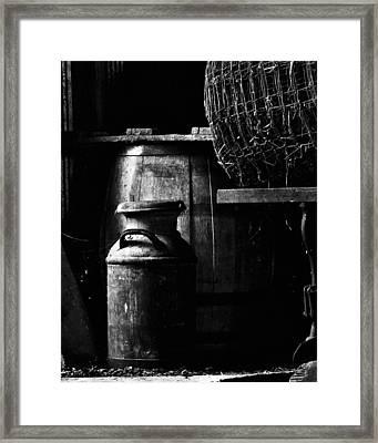 Barrel In The Barn Framed Print by Jim Finch