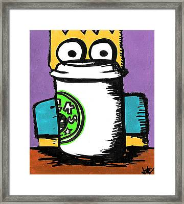 Bart Loves Coffee Framed Print by Jera Sky