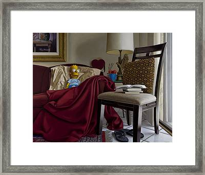 Bart On Couch With Red Blanket Framed Print by Tony Chimento