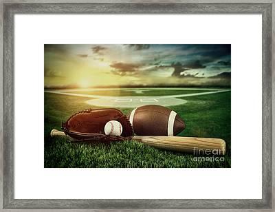 Baseball  Bat  And Mitt In Field At Sunset Framed Print by Sandra Cunningham
