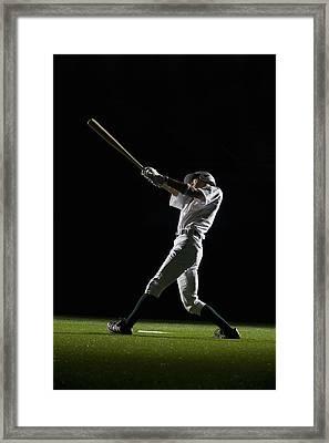 Baseball Batter Swinging Bat, Side View Framed Print by PM Images