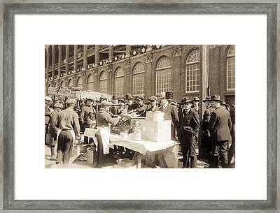 Baseball. Hot Dog Vendors Sell To Fans Framed Print by Everett