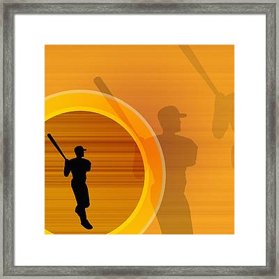 Baseball Player About To Swing, Silhouette (digital) Framed Print by Chad Baker