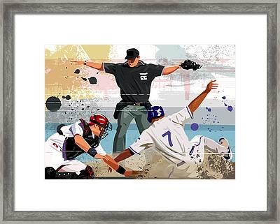 Baseball Player Safe At Home Plate Framed Print by Greg Paprocki