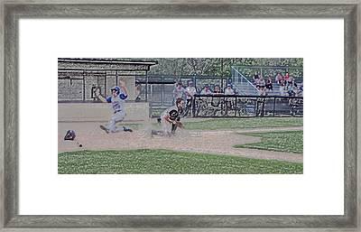 Baseball Runner Safe At Home Digital Art Framed Print by Thomas Woolworth
