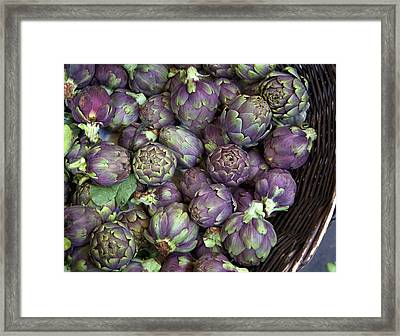 Basket Of Artichokes Framed Print by Grant Faint