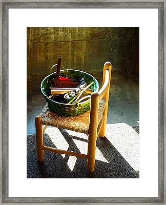 Basket Of Toy Instruments Framed Print by Susan Savad