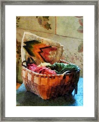 Basket Of Yarn And Tapestry Framed Print by Susan Savad