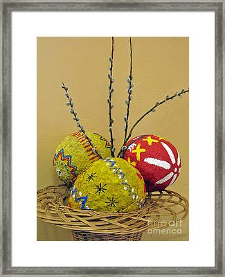 Basket With Papier-mache Eggs Framed Print by Ausra Huntington nee Paulauskaite