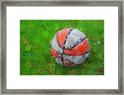 Basketball Orange White Green Abstract Framed Print by Geoff Strehlow