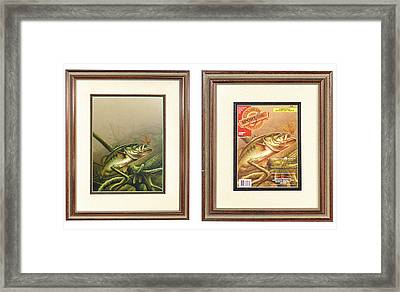 Bass And Log Framed Print by JQ Licensing