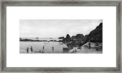 Bathing At Dunbar Framed Print by Alfred Hind Robinson