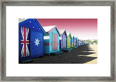Bathing Boxes Brighton Beach Framed Print by Roz McQuillan