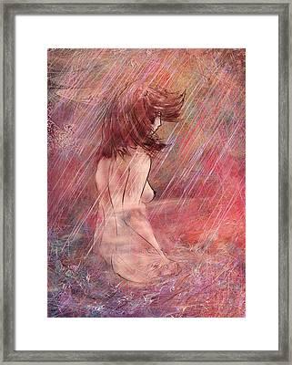 Bathing In The Rain Framed Print by Rachel Christine Nowicki