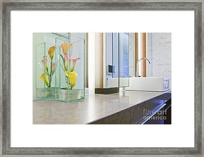 Bathroom Counter And Sink Framed Print by Jeremy Woodhouse