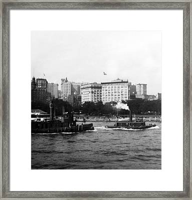 Battery Park And Lower Manhattan New York City - C 1904 Framed Print by International  Images