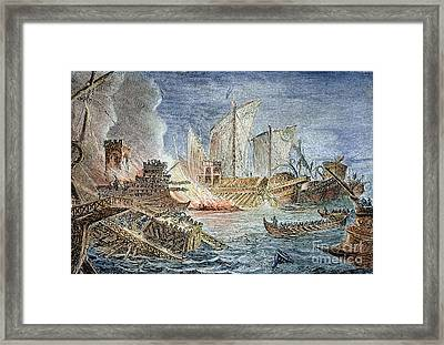 Battle Of Actium, 31 B.c Framed Print by Granger