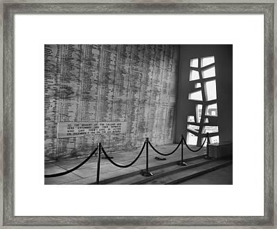 Battleship Arizona Memorial Wall - Pearl Harbor Hawaii Framed Print by Daniel Hagerman