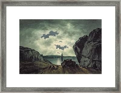 Bay Scene In Moonlight Framed Print by John Warwick Smith