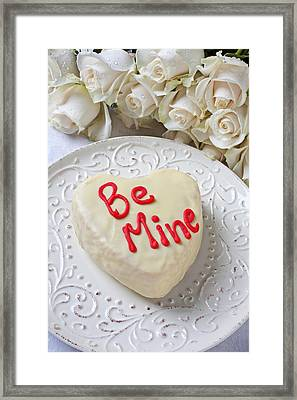 Be Mine Heart Cake Framed Print by Garry Gay