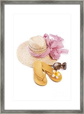 Beach Accessories Framed Print by Atiketta Sangasaeng