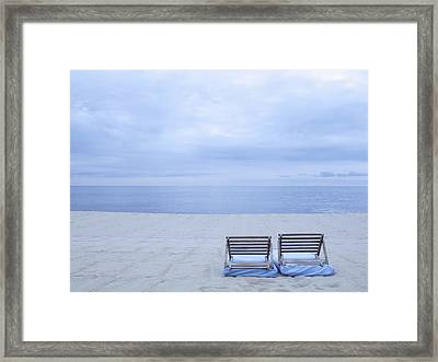 Beach And Chairs In St Tropez, French Riveira Framed Print by Ballyscanlon