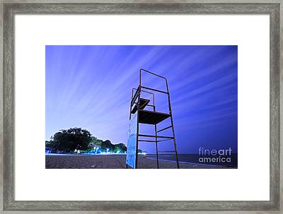 Beach At Night Framed Print by Charline Xia